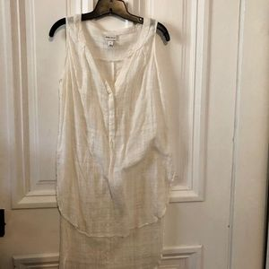 Ava Viv High Low White and Silver Tunic
